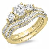 1.75 Carat (ctw) 14K Yellow Gold Round White Diamond Ladies Vintage 3 Stone Bridal Engagement Ring Set 1 3/4 CT