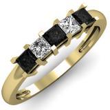 0.68 Carat (ctw) 10K Yellow Gold Princess Cut Black & White Diamond Ladies 5 Stone Bridal Wedding Anniversary Band