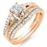 1.40 Carat (ctw) 10K Rose Gold Princess & Round Diamond Ladies Ring Engagement Bridal Wedding Band Set