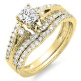 1.40 Carat (ctw) 10K Yellow Gold Princess & Round Diamond Ladies Ring Engagement Bridal Wedding Band Set