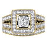 1.50 Carat (ctw) 10K Yellow Gold Princess & Round Cut Diamond Ladies Split Shank Halo Bridal Engagement Ring With Matching Band Set 1 1/2 CT