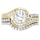 1.50 Carat (ctw) 10K Yellow Gold Round Diamond 3 Stone Ladies Bridal Twisted Engagement Ring With Matching Band Set 1 1/2 CT