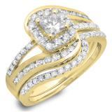 1.50 Carat (ctw) 10K Yellow Gold Princess & Round Cut Diamond Ladies Split Shank Twisted Halo Bridal Engagement Ring With Matching Band Set 1 1/2 CT