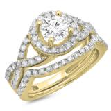1.30 Carat (ctw) 10K Yellow Gold Round Cut Diamond Ladies Bridal Swirl Split Shank Halo Engagement Ring With Matching Band Set 1 1/3 CT