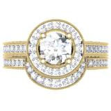 2.00 Carat (ctw) 10K Yellow Gold Round Diamond Ladies Halo Style Bridal Engagement Ring Set With Matching Band 2 CT