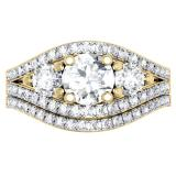 1.75 Carat (ctw) 14K Yellow Gold Round Diamond Ladies 3 Stone Bridal Engagement Ring Set 1 3/4 CT