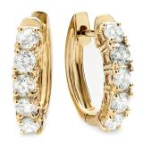 1.00 Carat (ctw) 14K Yellow Gold Round White Diamond Ladies Huggies Hoop Earrings 1 CT