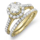 1.75 Carat (ctw) 10K Yellow Gold Round Cut Diamond Ladies Halo Style Bridal Engagement Ring Matching Band Set 1 3/4 CT