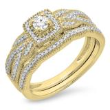 0.45 Carat (ctw) 14K Yellow Gold Round Cut Diamond Ladies Bridal Halo Engagement Ring With Matching Band Set 1/2 CT