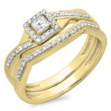 0.40 Carat (ctw) 10K Yellow Gold Princess & Round White Diamond Ladies Bridal Halo Split Shank Engagement Ring Set