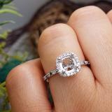 0.30 Carat (ctw) 10K White Gold Round Cut Black & White Diamond Ladies Bridal Semi Mount Engagement Ring 1/3 CT (No Center Stone)