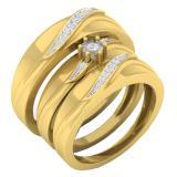 0.20 Carat (ctw) 14K Yellow Gold Round White Diamond Men & Women's Engagement Ring Trio Bridal Set 1/5 CT