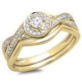 0.30 Carat (ctw) 10K Yellow Gold Round White Diamond Ladies Bridal Halo Split Shank Engagement Ring Set 1/3 CT