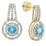 2.30 Carat (ctw) 18K Yellow Gold Round Cut Blue Topaz & White Diamond Ladies Halo Style Drop Earrings