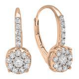 0.55 Carat (ctw) 18K Rose Gold Round Cut White Diamond Ladies Cluster Style Dangling Drop Earrings 1/2 CT