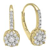 0.55 Carat (ctw) 18K Yellow Gold Round Cut White Diamond Ladies Cluster Style Dangling Drop Earrings 1/2 CT