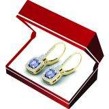 1.60 Carat (Ctw) 14K Yellow Gold Round Tanzanite & White Diamond Ladies Halo Style Hoop Earrings