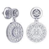 0.60 Carat (ctw) 14K White Gold Round White Diamond Ladies Circle Cluster Style Dangling Earrings