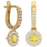 1.00 Carat (ctw) 18K Yellow Gold Round Citrine & White Diamond Ladies Circle Halo Style Dangling Drop Earrings 1 CT