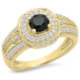 1.25 Carat (ctw) 10K Yellow Gold Round Black & White Diamond Ladies Halo Style Bridal Engagement Ring 1 1/4 CT