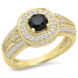 1.25 Carat (ctw) 14K Yellow Gold Round Black & White Diamond Ladies Halo Style Bridal Engagement Ring 1 1/4 CT