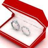 0.95 Carat (ctw) 10K White Gold Round White Diamond Ladies Bridal Halo Style Split Shank Engagement Ring Set 1 CT