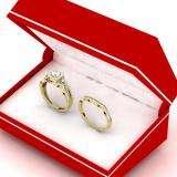 0.95 Carat (ctw) 18K Yellow Gold Round White Diamond Ladies Bridal Halo Style Split Shank Engagement Ring Set 1 CT