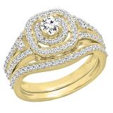 0.90 Carat (ctw) 10K Yellow Gold Round White Diamond Ladies Bridal Halo Style Split Shank Engagement Ring Set