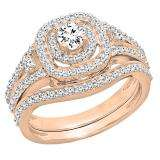0.90 Carat (ctw) 18K Rose Gold Round White Diamond Ladies Bridal Halo Style Split Shank Engagement Ring Set
