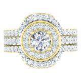 1.80 Carat (ctw) 14K Yellow Gold Round White Diamond Ladies Bridal Halo Style Engagement Ring Set