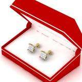 0.25 Carat (ctw) 18K Yellow Gold Round White Diamond Ladies Cluster Stud Earrings 1/4 CT