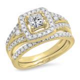 0.95 Carat (ctw) 18K Yellow Gold Princess & Round White Diamond Ladies Bridal Halo Style Split Shank Engagement Ring Set 1 CT