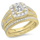 1.30 Carat (ctw) 10K Yellow Gold Princess & Round Cut White Diamond Ladies Bridal Halo Style Split Shank Engagement Ring With Matching Band Set