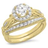 1.35 Carat (ctw) 14K Yellow Gold Round Cut White Cubic Zirconia Ladies Bridal Halo Vintage Style Engagement Ring With Matching Band Set
