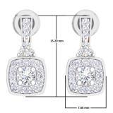 0.50 Carat (ctw) 10K White Gold Round White Diamond Ladies Halo Style Dangling Earrings 1/2 CT