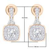 0.50 Carat (ctw) 14K Rose Gold Round White Diamond Ladies Halo Style Dangling Earrings 1/2 CT