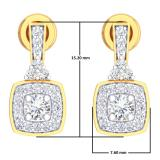 0.50 Carat (ctw) 14K Yellow Gold Round White Diamond Ladies Halo Style Dangling Earrings 1/2 CT