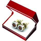 0.30 Carat (ctw) 10K Yellow Gold Round Champagne & White Diamond Ladies Cluster Style Stud Earrings 1/3 CT