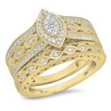 0.90 Carat (ctw) 14K Yellow Gold Round Blue Sapphire & White Cubic Zirconia CZ Bridal Engagement Ring Set