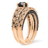 1.45 Carat (ctw) 18K Rose Gold Round Cut Black Diamond Ladies Bridal Vintage Style Engagement Ring With Matching Band Set 1 1/2 CT