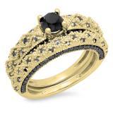 1.45 Carat (ctw) 18K Yellow Gold Round Cut Black Diamond Ladies Bridal Vintage Style Engagement Ring With Matching Band Set 1 1/2 CT