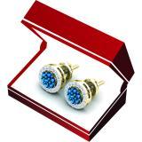 0.45 Carat (ctw) 14K Yellow Gold Blue & White Diamond Ladies Cluster Flower Stud Earrings 1/2 CT