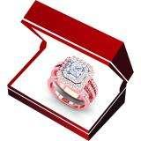 1.55 Carat (ctw) 14K White & Rose Gold Two Tone Princess & Round Diamond Ladies Square Split Shank Halo Bridal Engagement Ring Set 1 1/2 CT