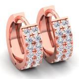 0.65 Carat (ctw) 14K Rose Gold Round Cut White Diamond Ladies Huggies Hoop Earrings