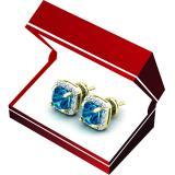 2.70 Carat (ctw) 10K Yellow Gold Cushion Cut Blue Topaz & Round Cut White Diamond Ladies Square Frame Halo Stud Earrings