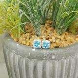2.70 Carat (ctw) 18K White Gold Cushion Cut Blue Topaz & Round Cut White Diamond Ladies Square Frame Halo Stud Earrings