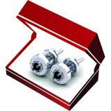 0.25 Carat (Ctw) 14K White Gold Round Black & White Diamond Ladies Halo Style Stud Earrings 1/4 CT