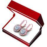 2.20 Carat (Ctw) 14K Rose Gold Round Cut Diamond Ladies Halo Style Dangling Drop Earrings