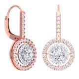 2.20 Carat (Ctw) 18K Rose Gold Round Cut Diamond Ladies Halo Style Dangling Drop Earrings
