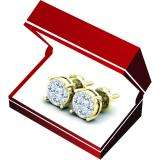 0.45 Carat (Ctw) 18K Yellow Gold Round Cut White Diamond Ladies Cluster Stud Earrings